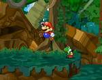 Mario and Mini-Yoshi in Keelhaul Key from Paper Mario: The Thousand-Year Door