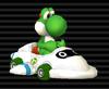Yoshi in his Super Blooper (Turbo Blooper) from Mario Kart Wii.