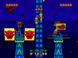 Cosmic Coaster: Both teams racing towards the end of the track in an asteroid based environment while avoiding Bowser symbol posters. From Mario Party 3.