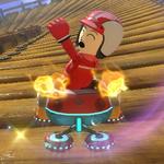 A male Mii performs a trick.