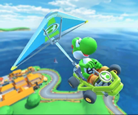 The icon of the Yoshi Cup challenge from the 2019 Paris Tour, the Diddy Kong Cup challenge from the 2020 Los Angeles Tour, and the Luigi Cup challenge from the 2021 Yoshi Tour in Mario Kart Tour