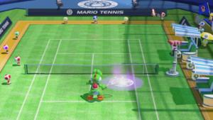A Leap Shot in Mario Tennis: Ultra Smash.