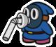 The Blue Slurp Snifit sprite from Paper Mario: Color Splash.