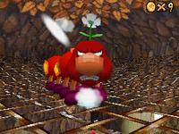 The boss Wiggler of Tiny-Huge Island in Super Mario 64 DS