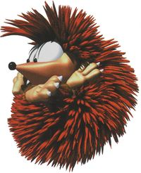 Artwork of a Bristles from Donkey Kong Country 3: Dixie Kong's Double Trouble!