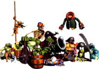 Artwork of the Kremling Krew from Donkey Kong Country 2: Diddy's Kong Quest.