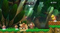 Screenshot of Mario in Big Goomba Bounce Bash, a 1-UP Rally Challenge Mode in New Super Mario Bros. U.