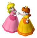 A Sticker of Princess Peach and Princess Daisy in Super Smash Bros. Brawl.