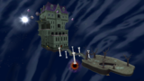 "A screenshot of Ghostly Galaxy during the ""Beware of Bouldergeist"" mission from Super Mario Galaxy."