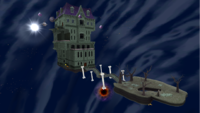 """A screenshot of Ghostly Galaxy during the """"Beware of Bouldergeist"""" mission from Super Mario Galaxy."""