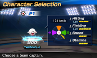 Boo's stats in the baseball portion of Mario Sports Superstars