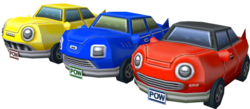 Models of the cars from Mario Kart: Double Dash!!.
