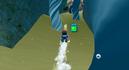 Mario swimming in Sea Slide Galaxy