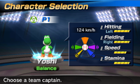 Yoshi's stats in the baseball portion of Mario Sports Superstars