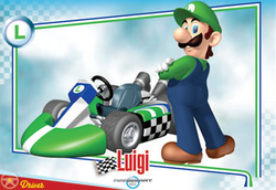 Mario Kart Wii trading card for Luigi.