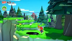 Not-Bottomless Hole No. 2 of Whispering Woods in Paper Mario: The Origami King.