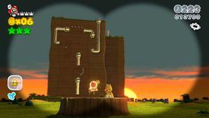 Second hidden Luigi found in Sprawling Savannah in Super Mario 3D World.