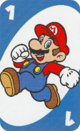 The Blue One card from the UNO Super Mario deck (featuring Mario)