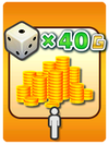 A Venture Card from Fortune Street indicating the player getting gold based on a die roll