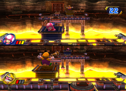 Wario gets hurt in Lava Lobbers from Mario Party 8