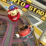 Baby Mario performing a trick. Mario Kart 8.