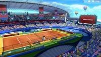 A screenshot of the Marina Stadium (Clay) Court in Mario Tennis Aces