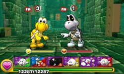 Screenshot of World 2-Tower, from Puzzle & Dragons: Super Mario Bros. Edition.