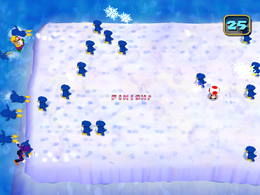 Excuse the tiny finish, but I was lucky there was no graphical glitches here when I played this. Pushy Penguins from Mario Party 5
