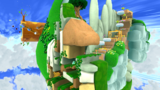 """A screenshot of Honeybloom Galaxy during the """"Bumble Beginnings"""" mission from Super Mario Galaxy 2."""