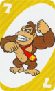 The Yellow Seven card from the UNO Super Mario deck (featuring Donkey Kong)