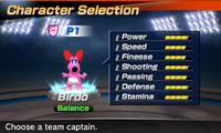 Birdo's stats in the soccer portion of Mario Sports Superstars