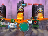 Screenshot of the duel in Bowser Stadium from Mario Party 5