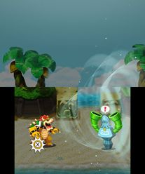 Bowser inhaling the Sea Pipe Statue in Mario & Luigi: Bowser's Inside Story and Mario & Luigi: Bowser's Inside Story + Bowser Jr.'s Journey.