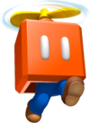 Artwork of Mario jumping within a Propeller Box, from Super Mario 3D Land.