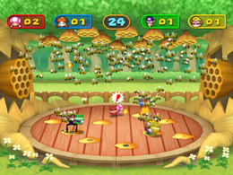 Wario getting stung in Big Dripper from Mario Party 7