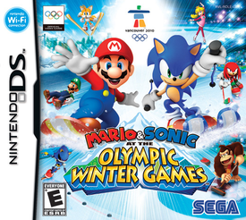 Official cover art for the Nintendo DS version of Mario & Sonic at the Olympic Winter Games.