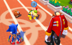 Bowser Jr. thinking what to ask Dr. Eggman to do while a Goomba and Metal Sonic watch