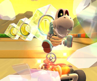 The icon of the Ice Mario Cup challenge from the Cooking Tour and the Baby Rosalina Cup challenge from the Peach vs. Daisy Tour in Mario Kart Tour