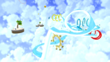 "A screenshot of Loopdeswoop Galaxy during ""The Galaxy's Greatest Wave"" mission from Super Mario Galaxy."