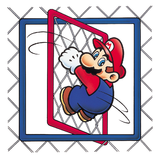 Artwork of Mario clinging on a Fence, from Super Mario World.