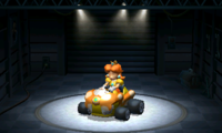 Princess Daisy, using the Birthday Girl, equipped with the Slick tires.