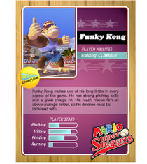 Front and back of Funky Kong's official profile card from Mario Super Sluggers.