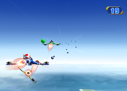 Wario falling off in Swervin' Skies from Mario Party 8