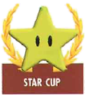 Mario Kart: Super Circuit promotional artwork: The Star Cup emblem.