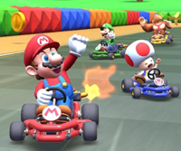 The icon of the Toad Cup's challenge from the Flower Tour in Mario Kart Tour.
