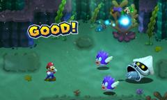 Screenshot of the Thunder Bros. Bros. Attack in Mario & Luigi: Superstar Saga + Bowser's Minions