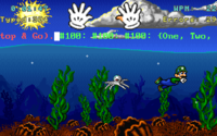 Gameplay of the second mode, Underwater World, in the MS-DOS version of Mario Teaches Typing