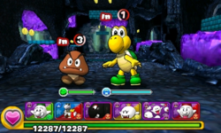 Screenshot of World 1-2, from Puzzle & Dragons: Super Mario Bros. Edition.