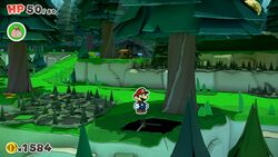 Not-Bottomless Hole No. 7 of Whispering Woods in Paper Mario: The Origami King.