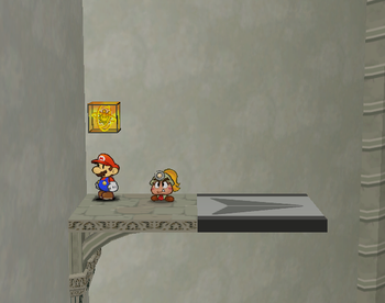 Mario next to the Shine Sprite above the left airplane panel before the Thousand-Year Door in Paper Mario: The Thousand-Year Door.